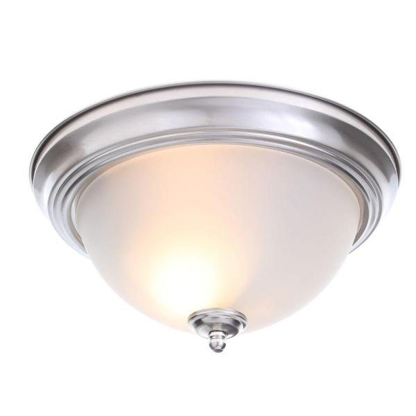 Flushmount Lights   Lighting   The Home Depot 2 Light Brushed Nickel Flushmount with Frosted Glass Shade  2