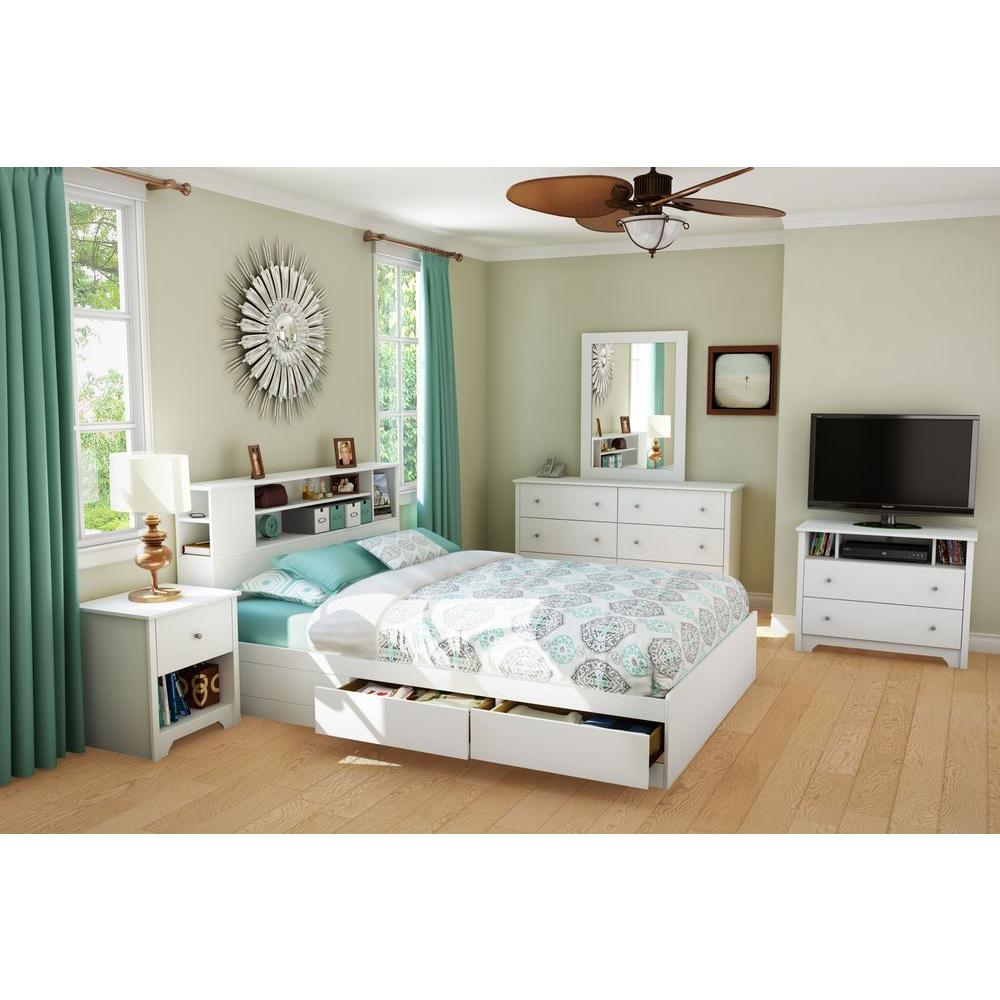 South Shore Vito 2 Drawer Queen Size Storage Bed in Pure White     South Shore Vito 2 Drawer Queen Size Storage Bed in Pure White