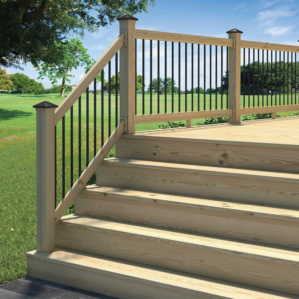 Deckorail 6 Ft Pressure Treated Aluminum Solid Lightning Rail | Pressure Treated Deck Handrail | Real Wood | Light Color | Deck Board | Southern Yellow Pine | Decking