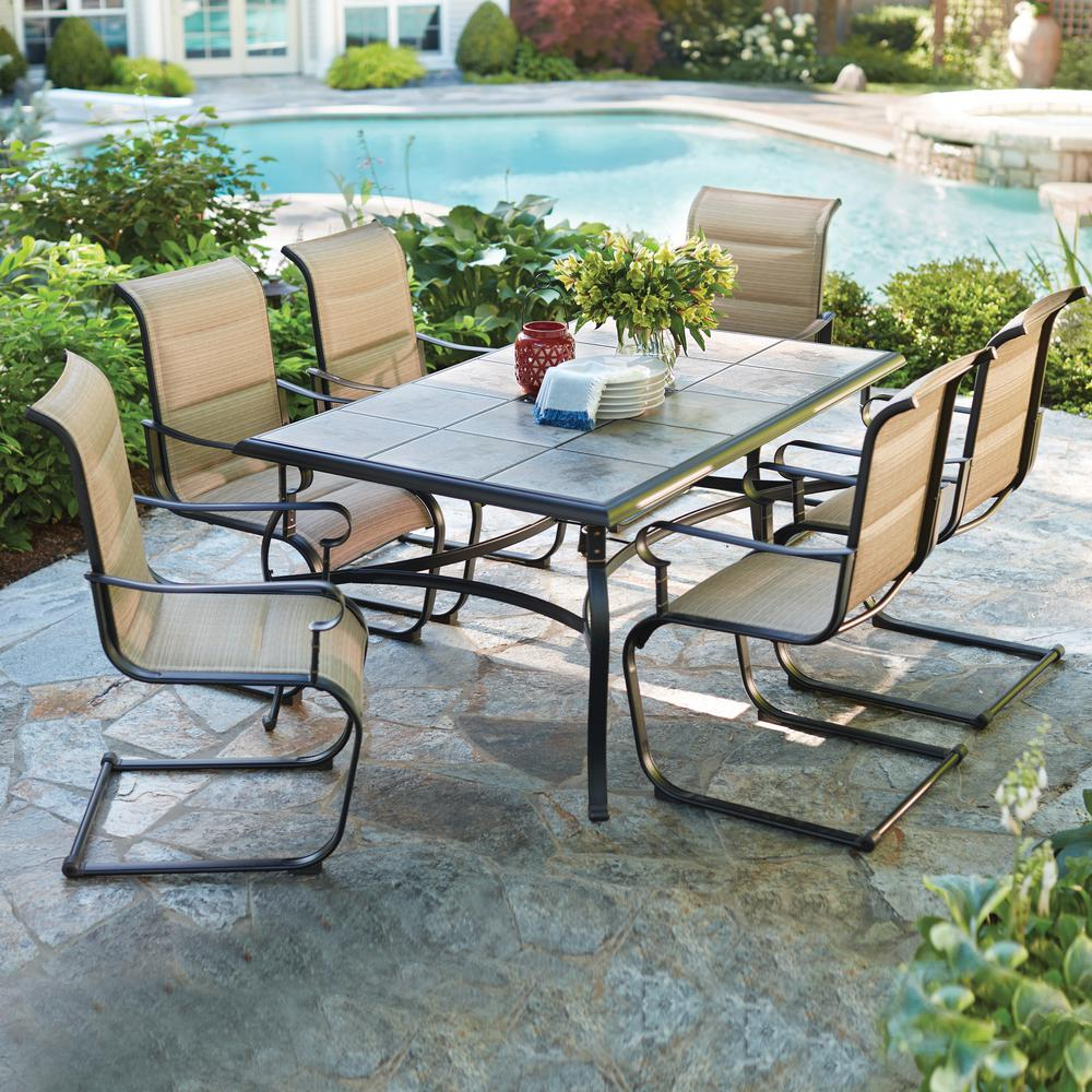 Hampton Bay Belleville 7 Piece Padded Sling Outdoor Dining Set     Hampton Bay Belleville 7 Piece Padded Sling Outdoor Dining Set