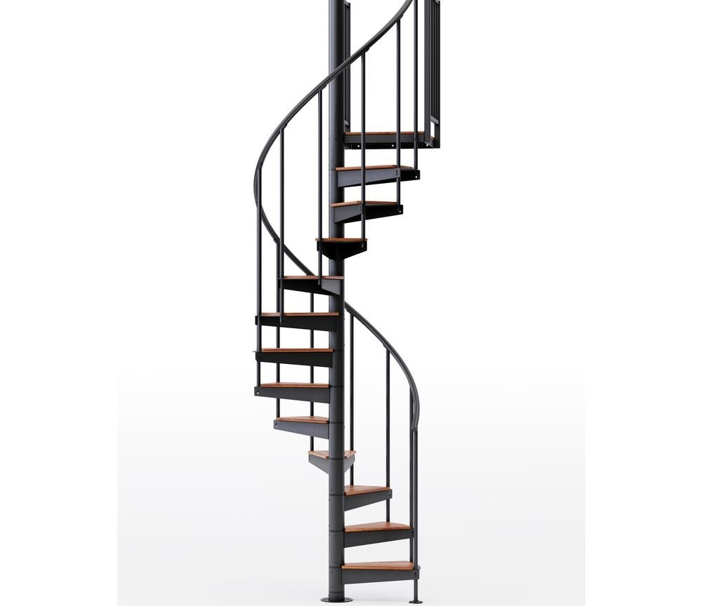 Mylen Stairs Condor Black Interior 42 Diameter 9 Treads With 2 36 | 9 Foot Spiral Staircase | 36 Tall | Stair Kit | Modern Staircase | Dolle Toronto | Stair Parts