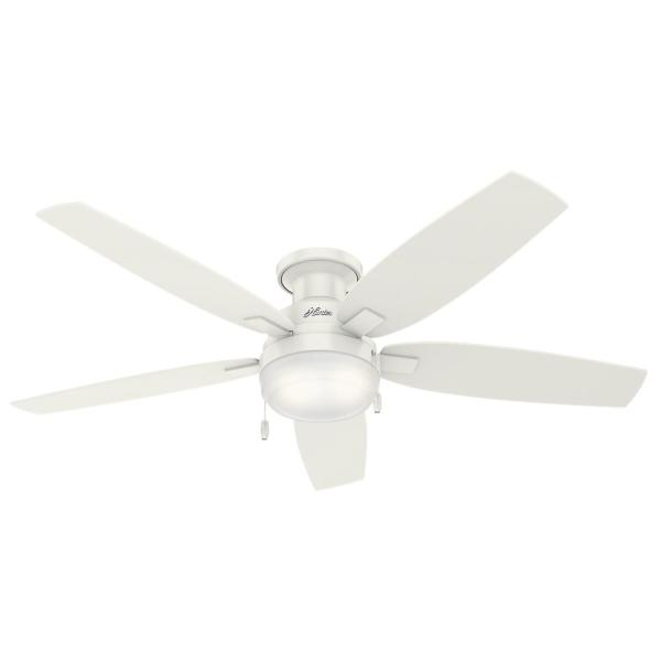Hunter Duncan 52 in  LED Indoor Fresh White Flush Mount Ceiling Fan     LED Indoor Fresh White Flush Mount Ceiling Fan with Light 59186   The Home  Depot