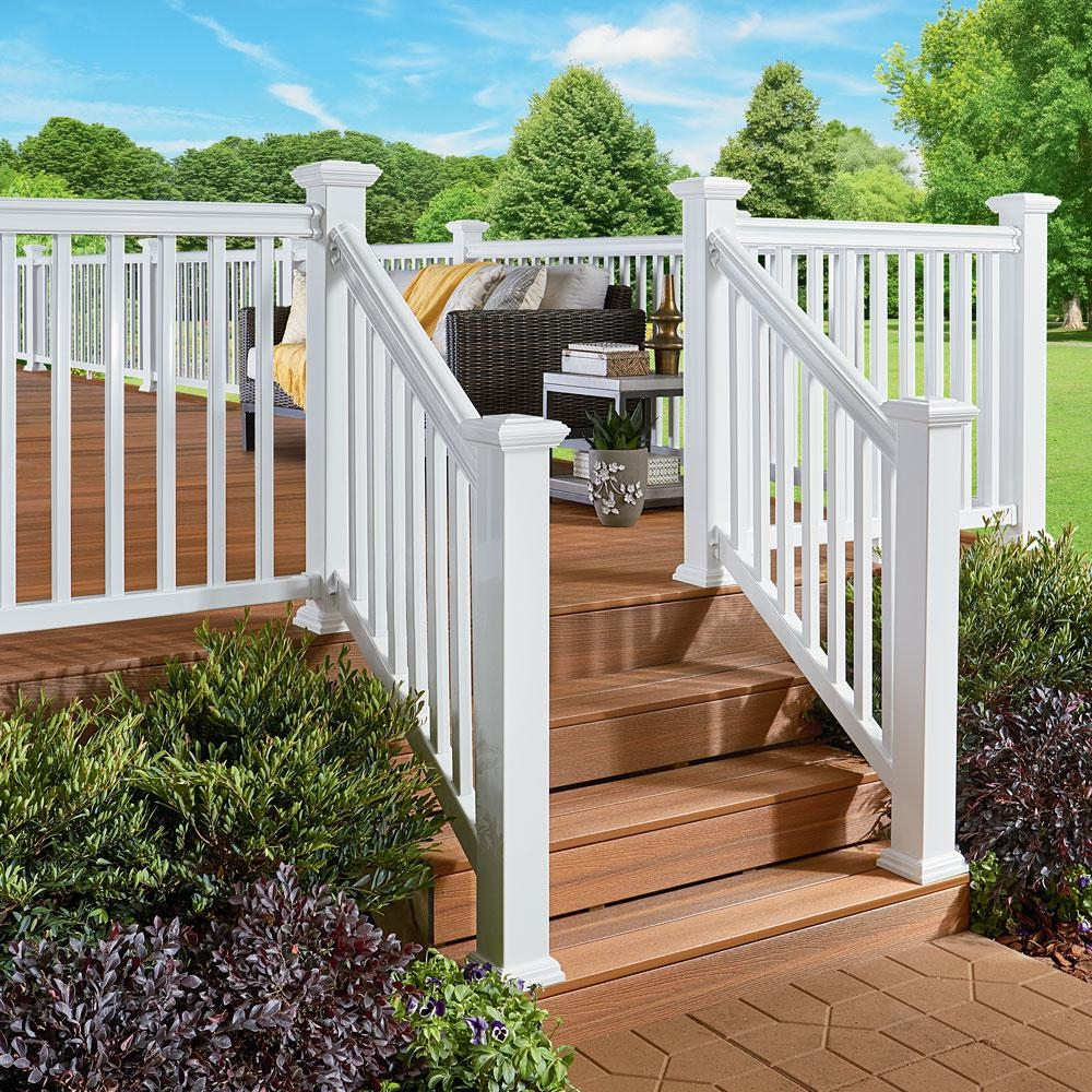 Fiberon Armorguard Classic 72 In White Composite Stair Rail Kit   Outside Handrails Home Depot   Hand Rail   Metal   Deck   Deck Railing Systems   Front Porch