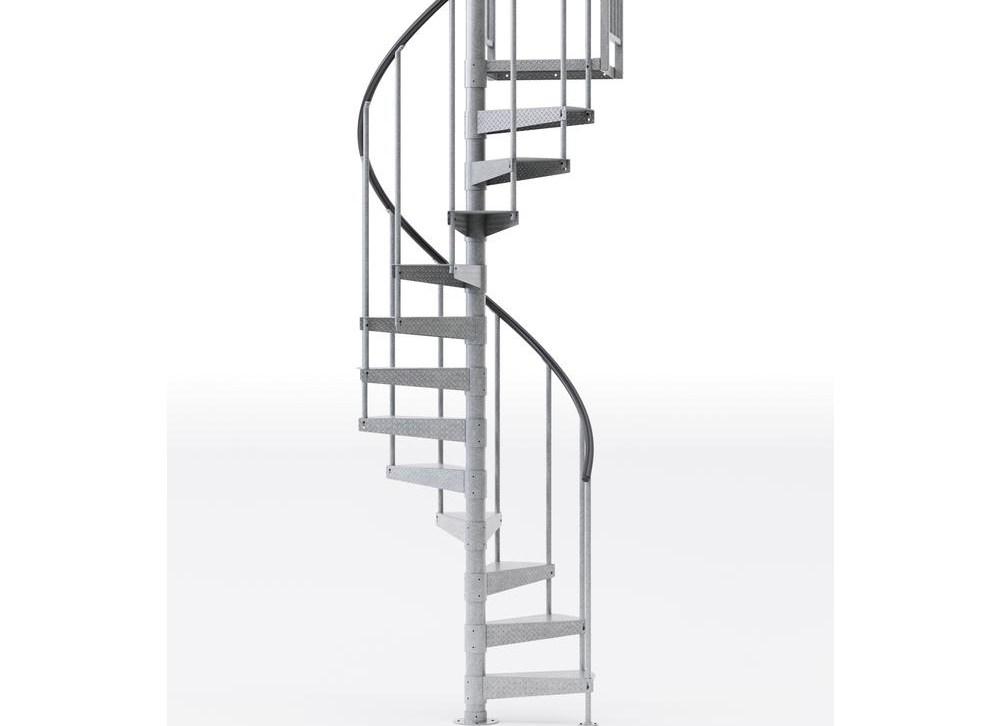Mylen Stairs Reroute Galvanized 42 In 3 Ft 6 In Wide 14 | 6 Foot Spiral Staircase | Tread Depth | Stair Kit | Metal | Building Code | Hayden Gray