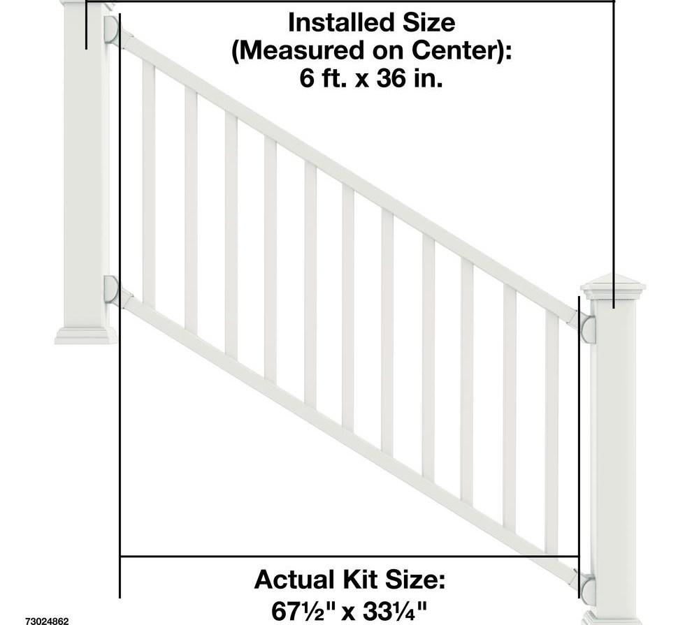 Veranda Select 3 Ft White Vinyl Stair Rail Kit With Square   Home Depot Outside Stair Railings   Balusters   Iron Stair   Aluminum Stair   Tuffbilt   Deck Stair
