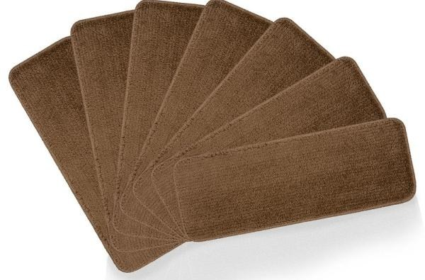 Ottomanson Softy Collection Brown 9 In X 26 In Rubber Back Stair | Wood Stair Treads Home Depot | Vinyl Flooring | Stair Risers | Indoor Stair | Tread Covers | Unfinished Pine Stair