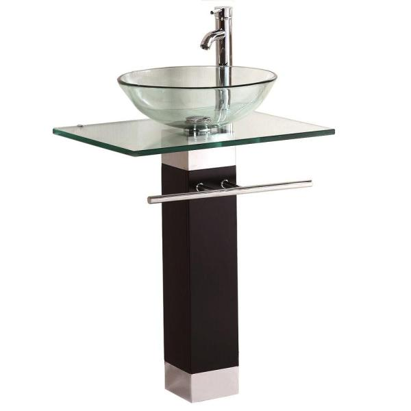 Kokols Pedestal Combo Bathroom Sink in Clear WF 09   The Home Depot Kokols Pedestal Combo Bathroom Sink in Clear