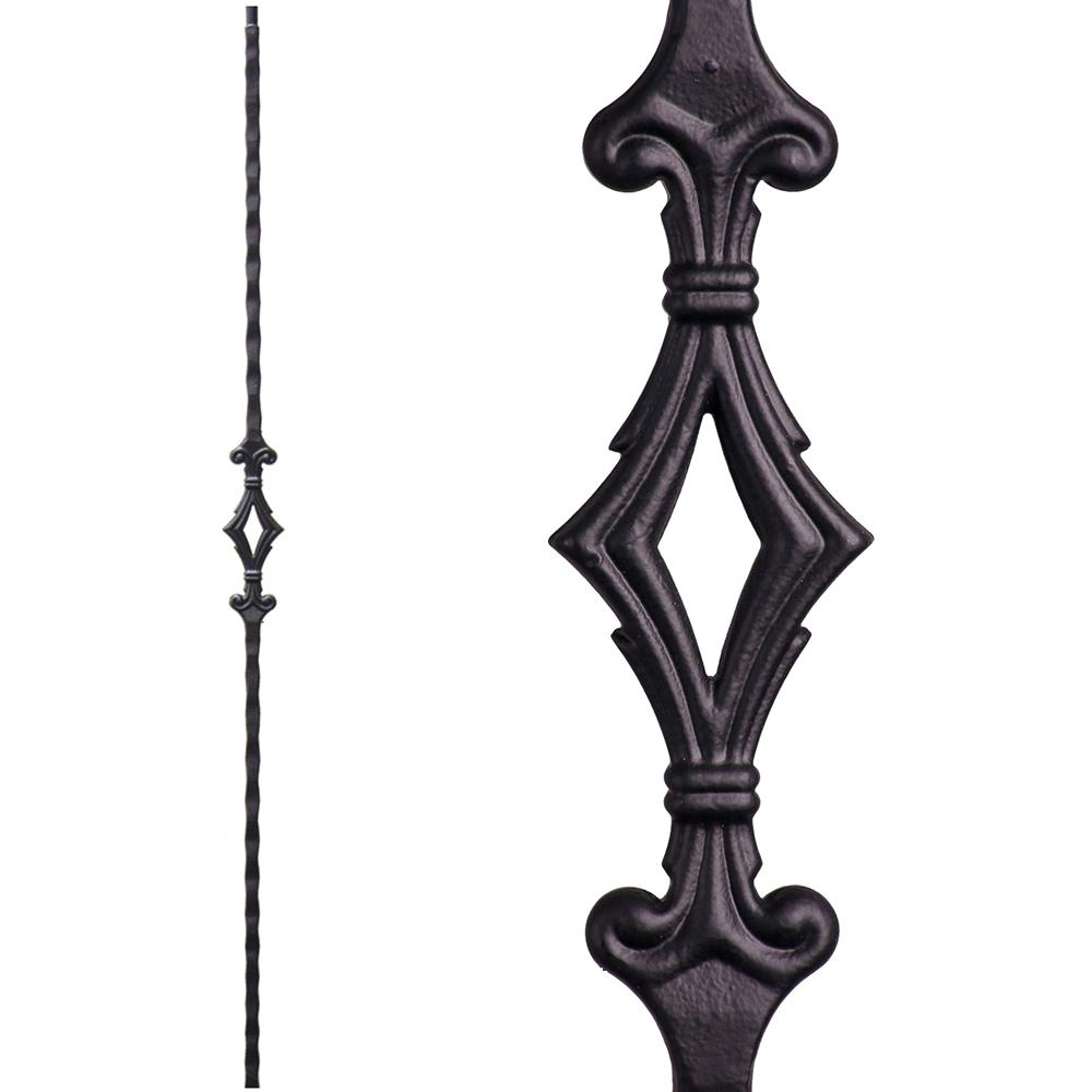 House Of Forgings Tuscan Square Hammered 44 In X 5625 In Satin | Iron Balusters Home Depot | Railing Kit | Ole Iron | Staircase Remodel | Oil Rubbed Copper Vein | Baluster Railing