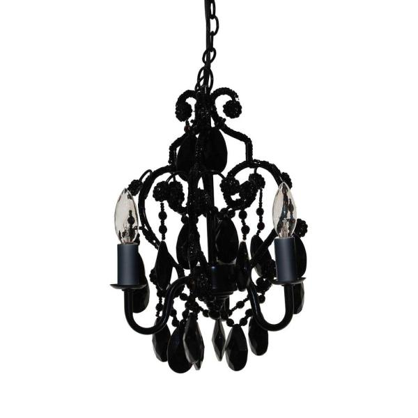 small black crystal chandelier # 1