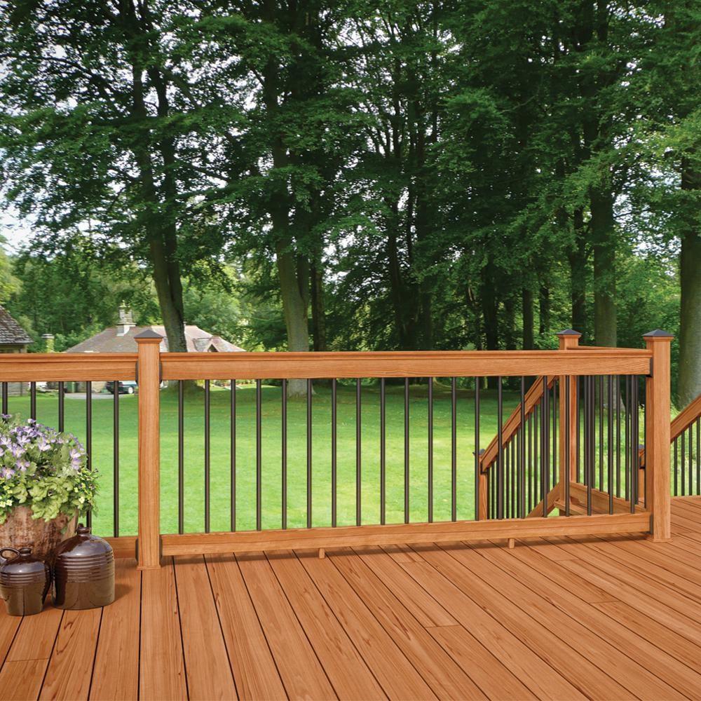 Deckorail Western Red Cedar 8 Ft Railing Kit With Black Aluminum | Cedar Handrail Home Depot | Railing Systems | Handrail Kit | Cedar Tone | Deck Stair Railing Kit | Aluminum Balusters