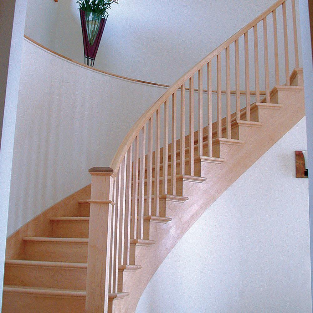 Stair Parts 6210 16 Ft Unfinished Poplar Bending Stair Handrail | Home Depot Handrails Interior | Wrought Iron Railing Ideas | Aluminum | Baluster | Newel | Deck Railing
