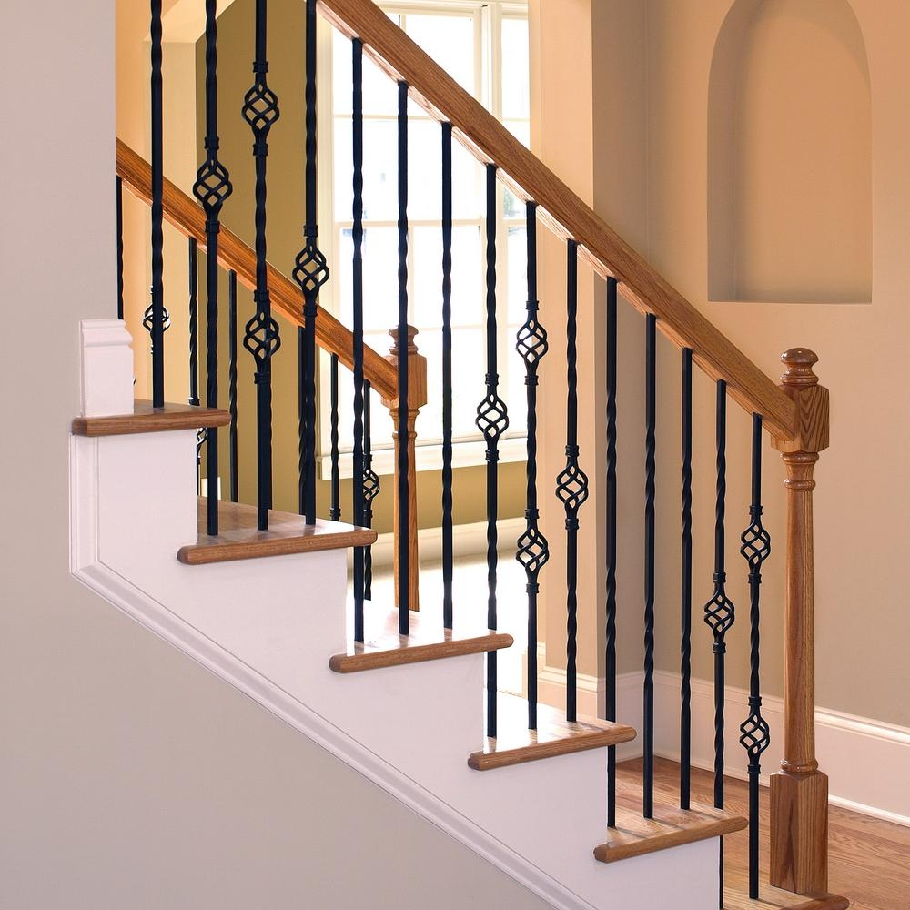Stair Parts 44 In X 1 2 In Matte Black Metal Double Basket | Wrought Iron Spindles Home Depot | Cast Iron | Diamond Shaped Iron | Traditional Home | Metal | Coastal