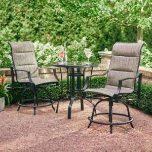 Bar Height Dining Sets   Outdoor Bar Furniture   The Home Depot Statesville Pewter 3 Piece Outdoor Balcony Height
