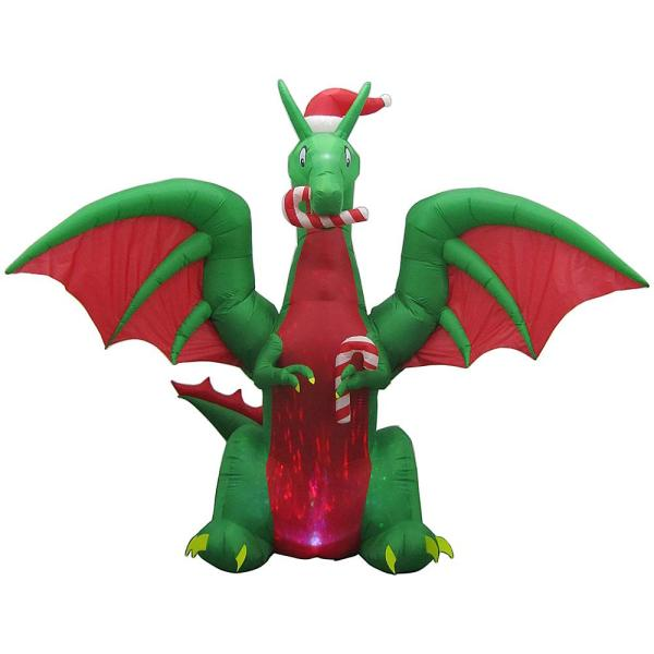 Home Accents Holiday 11 ft  Animated Inflatable Kaleidoscope Dragon     Home Accents Holiday 11 ft  Animated Inflatable Kaleidoscope Dragon with  Santa Hat
