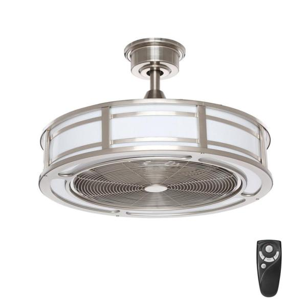 Home Decorators Collection Brette 23 in  LED Indoor Outdoor Brushed     Home Decorators Collection Brette 23 in  LED Indoor Outdoor Brushed Nickel  Ceiling Fan with