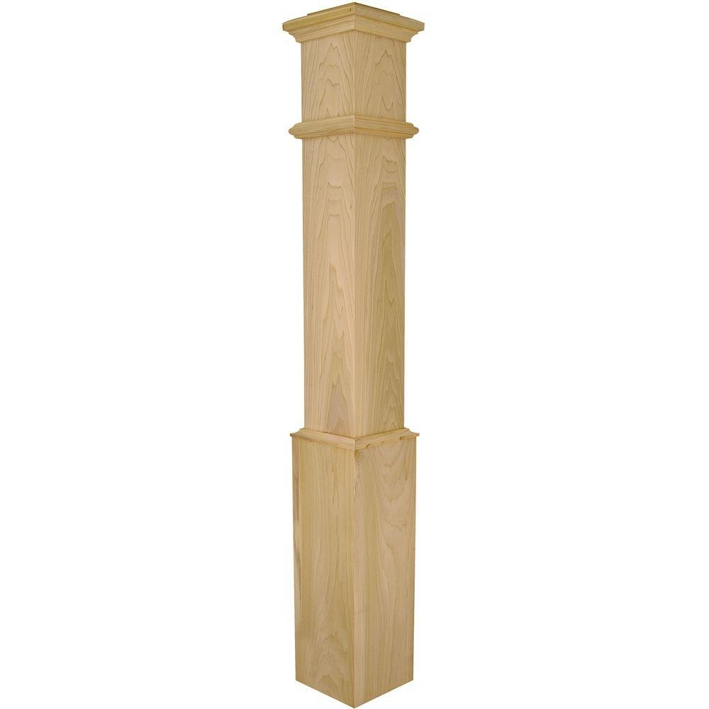 Stair Parts 56 In X 7 1 2 In Poplar Plain Box Newel Post | Home Depot Newel Posts