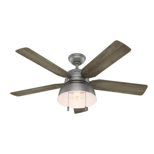 Hunter Mill Valley 52 in  LED Indoor Outdoor Matte Silver Ceiling     LED Indoor Outdoor Matte Silver Ceiling Fan with Light