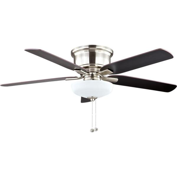 Hampton Bay Holly Springs Low Profile 52 in  LED Indoor Brushed     Hampton Bay Holly Springs Low Profile 52 in  LED Indoor Brushed Nickel Ceiling  Fan with Light Kit 57289   The Home Depot