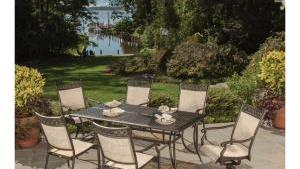 Bali Cast Aluminum And Sling 7 Piece Outdoor Dining Set