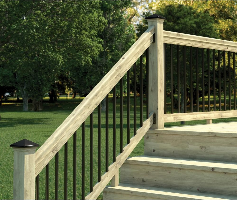 Weathershield 6 Ft Pressure Treated Stair Railing Kit With Black | Wood Railings For Steps | Deck | Stairwell | Nautical Rope | Outdoor | Easy