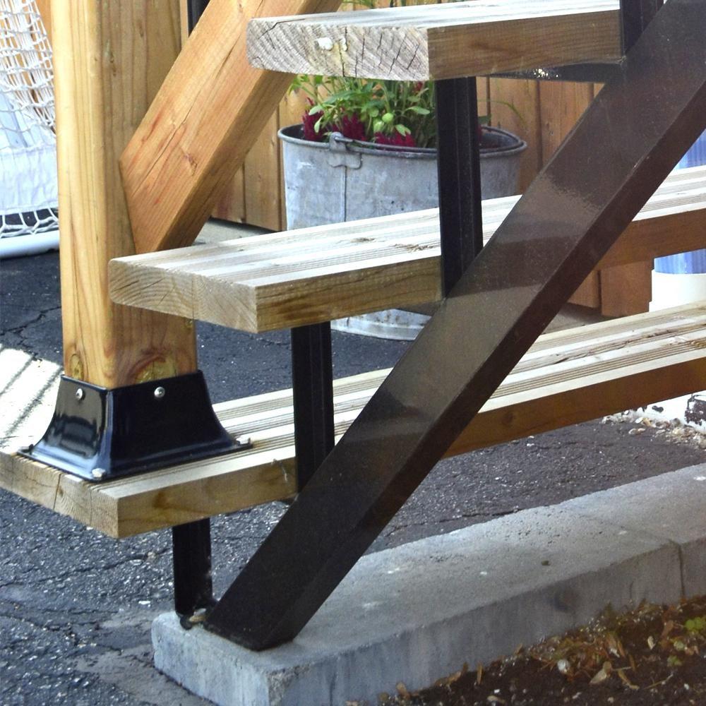 Pylex 3 Steps Steel Stair Stringer Black 7 1 2 In X 10 1 4 In   Steel Steps For Stairs   Iron Plate   Steel Structure   2 Step   Metal Floor Plate   Double Stringer