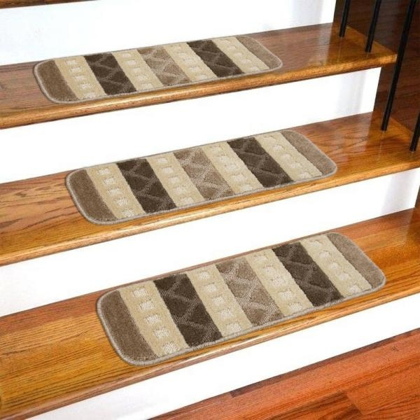 Ottomanson Softy Collection Brown Striped Design 9 In X 26 In   Outdoor Stair Treads Home Depot   Vinyl Stair Risers   Cedar Tone   Square Nose Stair   Carpet   Non Slip