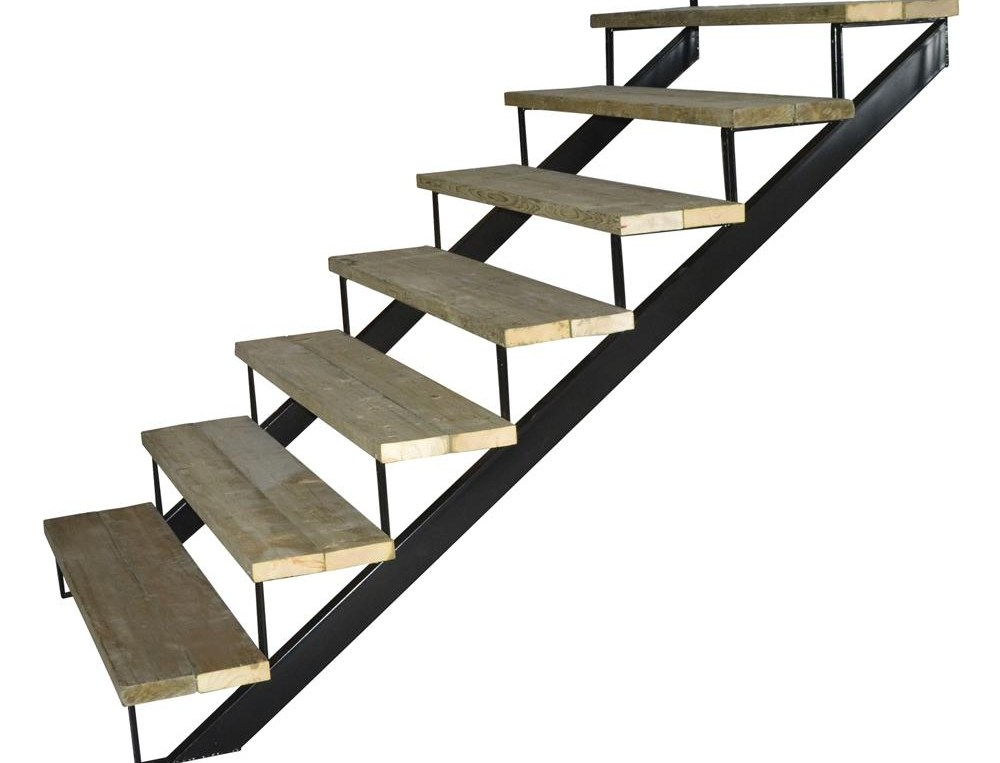 Pylex 7 Steps Steel Stair Stringer Black 7 1 2 In X 10 1 4 In   Metal Steps Home Depot   Wrought Iron Railings   Flashing   Step Stool   Deck Railing   Stair Treads