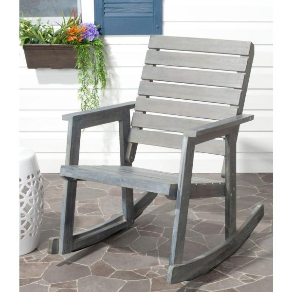 Safavieh Alexei Ash Gray Acacia Wood Patio Rocking Chair FOX6702A     Safavieh Alexei Ash Gray Acacia Wood Patio Rocking Chair