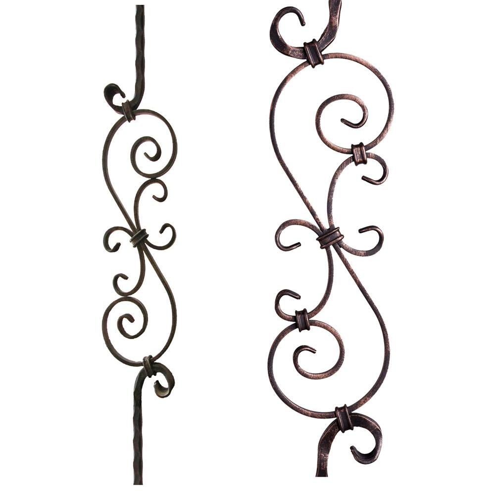 House Of Forgings Tuscan Square Hammered 44 In X 5625 In Oil   Wrought Iron Balusters Home Depot   Silver Vein   Oil Rubbed Bronze   Solid Wrought   Baluster Railing   Tuscan Round