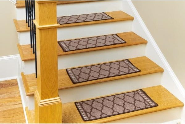 Nance Carpet And Rug Non Slip Mosaic Brown 9 In X 27 In Nylon | Home Depot Carpet Treads | Ottomanson Softy | Tread Covers | Rugs | Staircase | Stairs