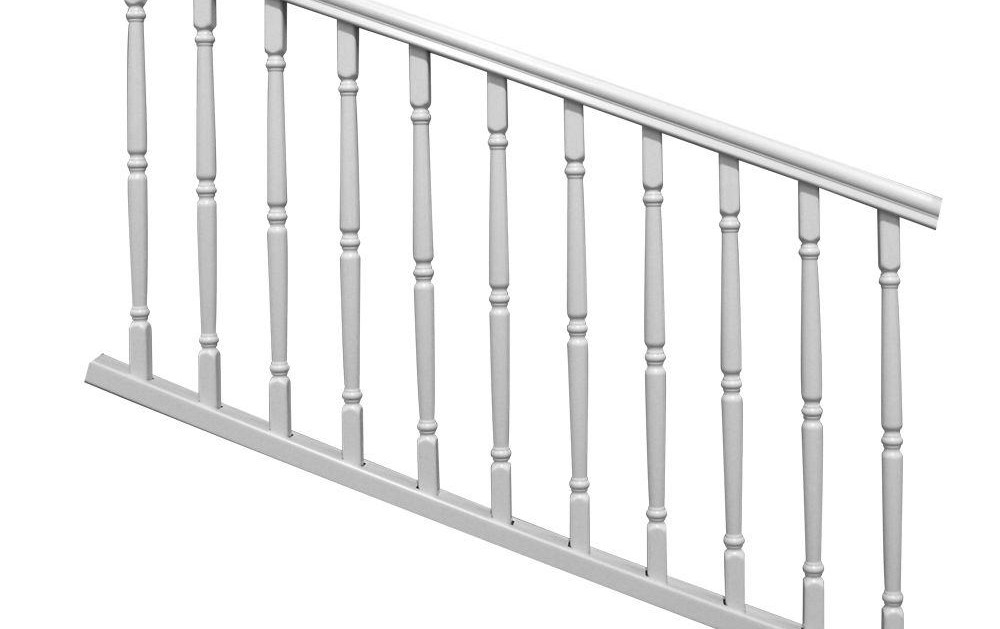 Veranda Williamsburg 6 Ft X 36 In White Polycomposite Stair Rail | Outside Stair Railing Home Depot | Aluminum Balusters | Wood | Rail Kit | Hand Rail | Stair Parts