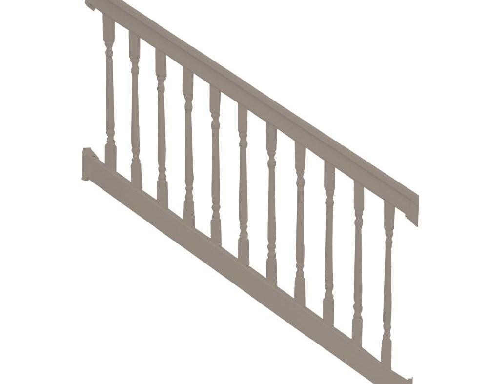 Weatherables Delray 3 Ft H X 6 Ft W Vinyl Khaki Stair Railing | Home Depot Railing Spindles | Redwood Deck | Stair Railing | Pressure Treated Lumber | Fence | Stair Parts