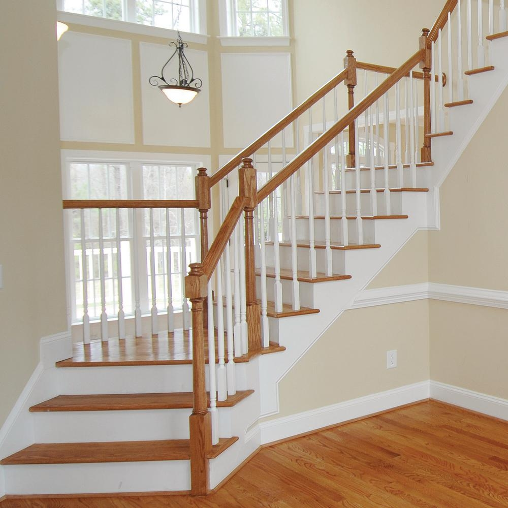 Stair Parts 6010 14 Ft Unfinished Red Oak Stair Handrail 6010R | Interior Railings Home Depot | Metal | Pre Assembled | Indoor | Interior Diy Stair | Plastic