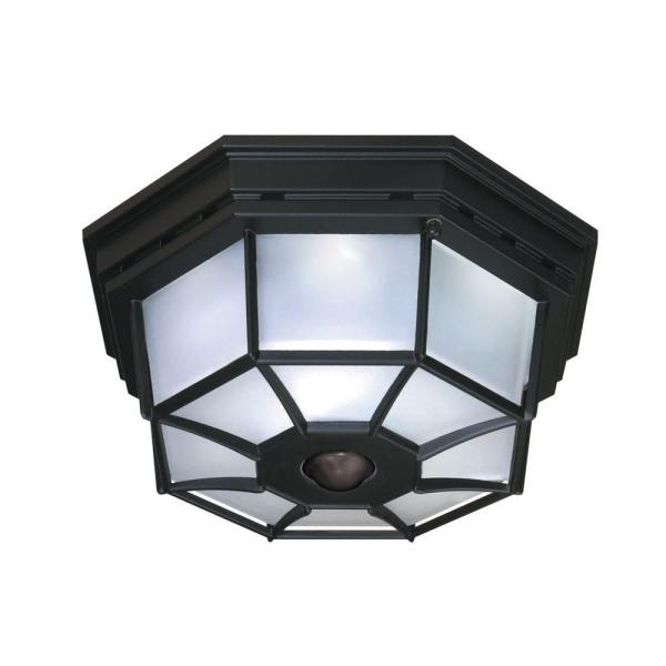Heath Zenith 360 Degree 4 Light Black Motion Activated Octagonal     Heath Zenith 360 Degree 4 Light Black Motion Activated Octagonal Ceiling  Light
