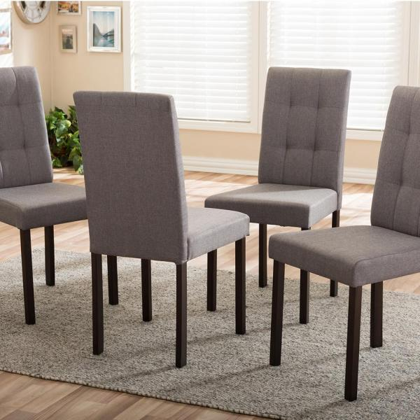 Baxton Studio Andrew 9 Grids Gray Fabric Upholstered Dining Chairs     Baxton Studio Andrew 9 Grids Gray Fabric Upholstered Dining Chairs  Set of  4