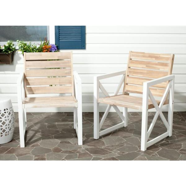 Safavieh Irina White Oak Acacia Wood Patio Armchair  2 Pack     Safavieh Irina White Oak Acacia Wood Patio Armchair  2 Pack