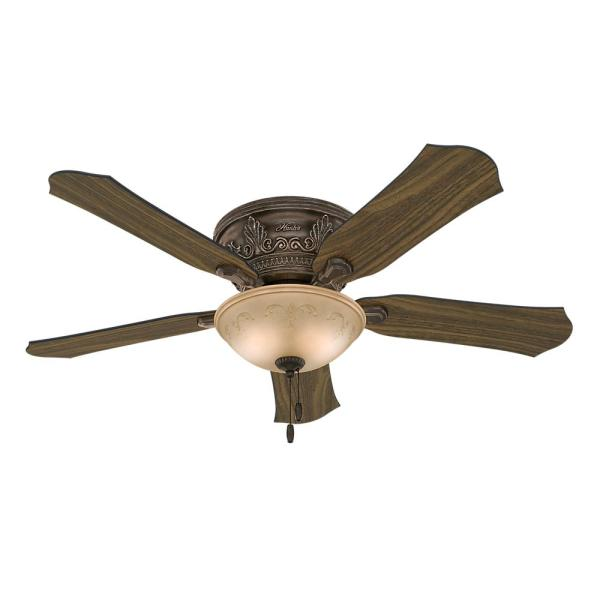 Hunter Viente 52 in  Indoor Roman Bronze Flushmount Ceiling Fan with     Indoor Roman Bronze Flushmount Ceiling Fan with Light Kit