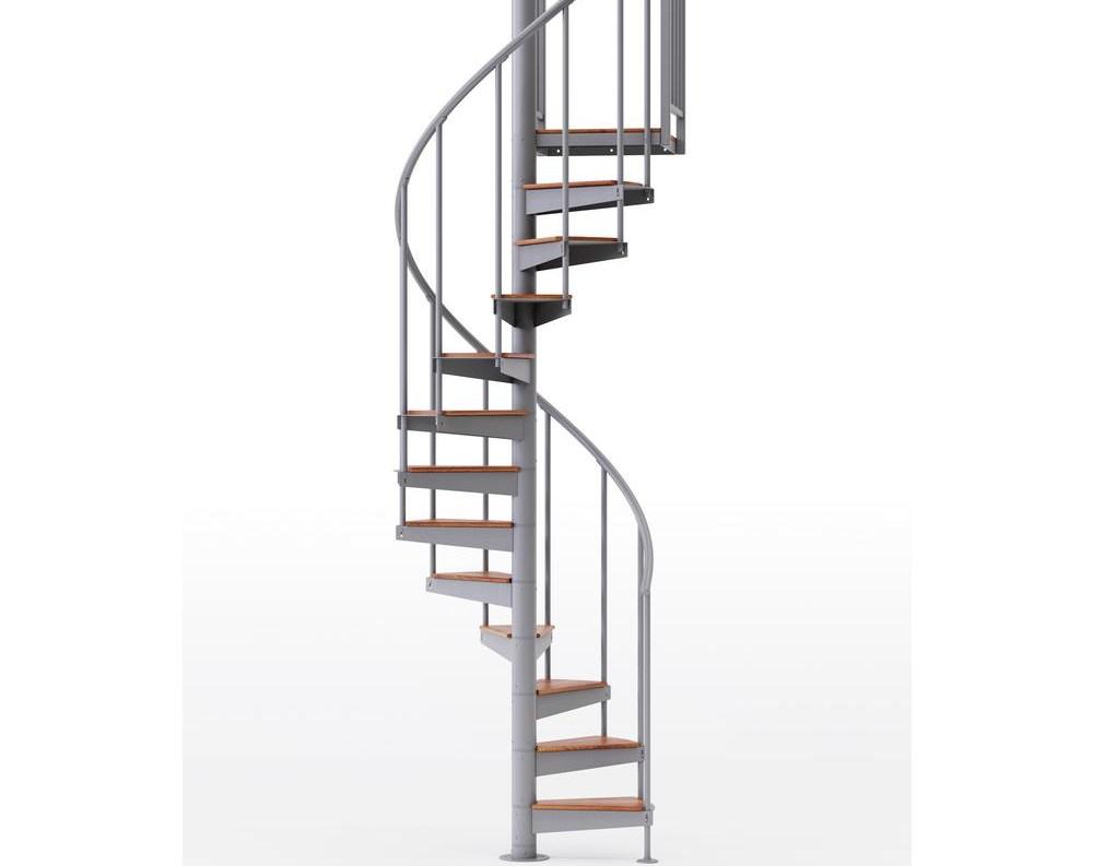 Mylen Stairs Condor Gray Interior 42 Diameter 12 Treads With 1 42   12 Ft Spiral Staircase   Stair Treads   Steel   Mylen Stairs   Staircase Kit   Stair Kit