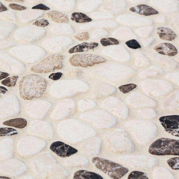 Jeffrey Court River Rock Medley 11 in  x 11 in  x 10 mm Travertine     Jeffrey Court River Rock Medley 11 in  x 11 in  x 10 mm Travertine