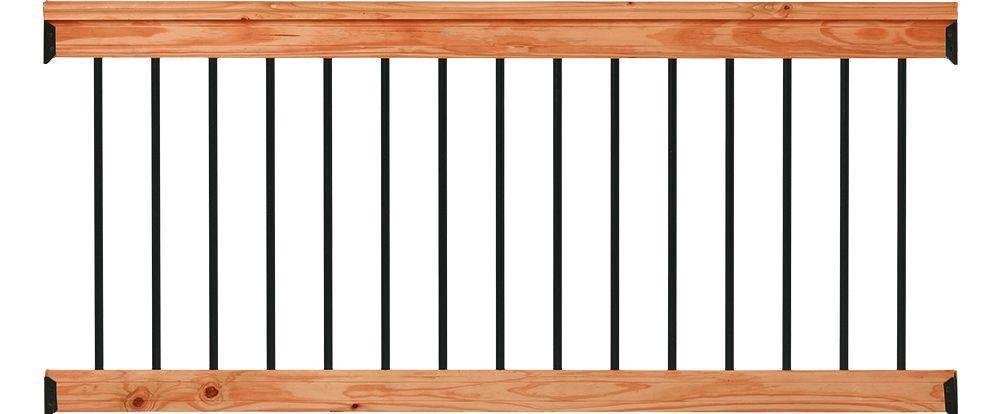 Deckorail 6 Ft Redwood Deck Rail Kit With Black Aluminum   Home Depot Exterior Railings   Wrought Iron Railing   Front Porch Railings   Wood   Aluminum Balusters   Aluminum Railing