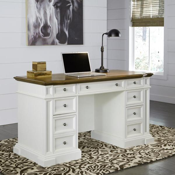 Home Styles Americana White Desk with Storage 5002 18   The Home Depot Home Styles Americana White Desk with Storage