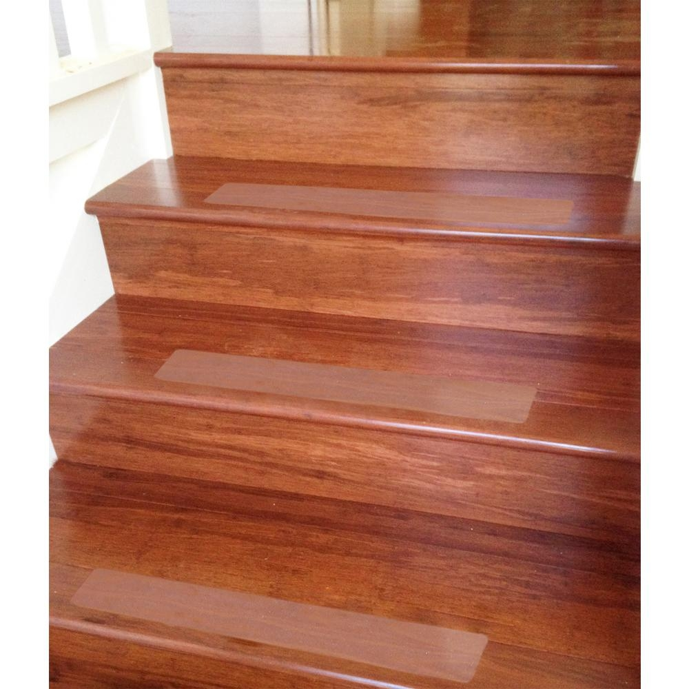 Ottomanson Safety Treads Clear 4 In X 26 In Peva Plastic Stair | Safety Treads For Wooden Stairs | Anti Slip Stair Nosing | Rubber | Pet Friendly | Slip Resistant | Floating Staircase