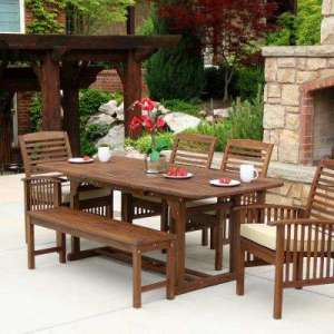 Wood Patio Furniture   Patio Dining Furniture   Patio Furniture     Boardwalk 6 Piece Dark Brown Acacia Outdoor Dining Set with Cushions