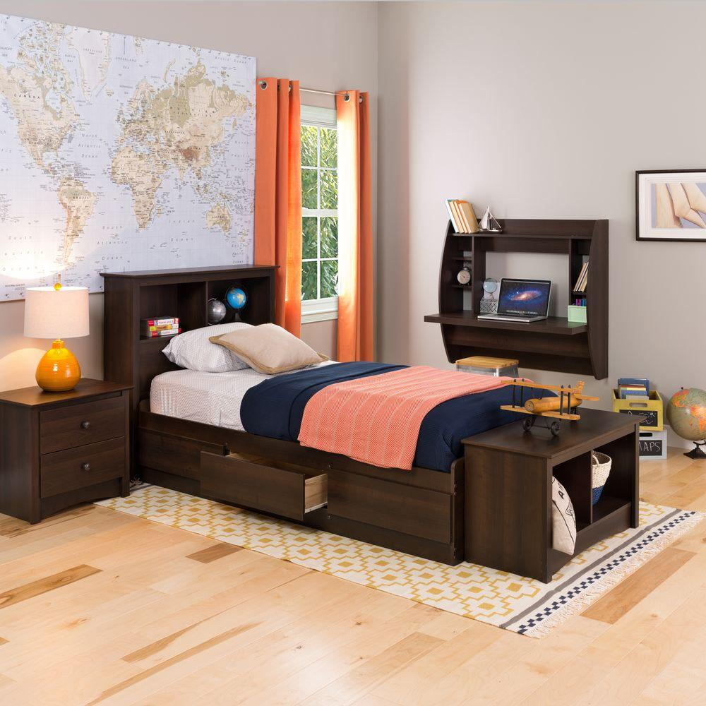 Prepac Fremont Twin Wood Storage Bed EBT 4100 2K   The Home Depot Prepac Fremont Twin Wood Storage Bed