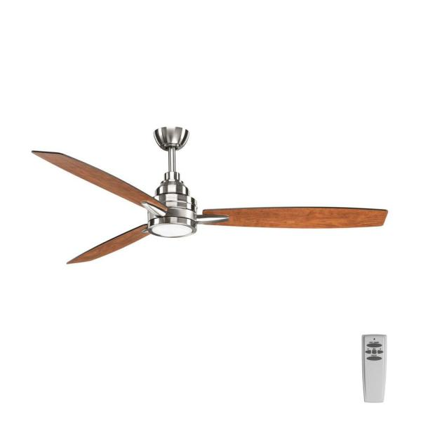 Progress Lighting Gaze Collection 60 in  LED Indoor Brushed Nickel     Progress Lighting Gaze Collection 60 in  LED Indoor Brushed Nickel Modern  Ceiling Fan with Light