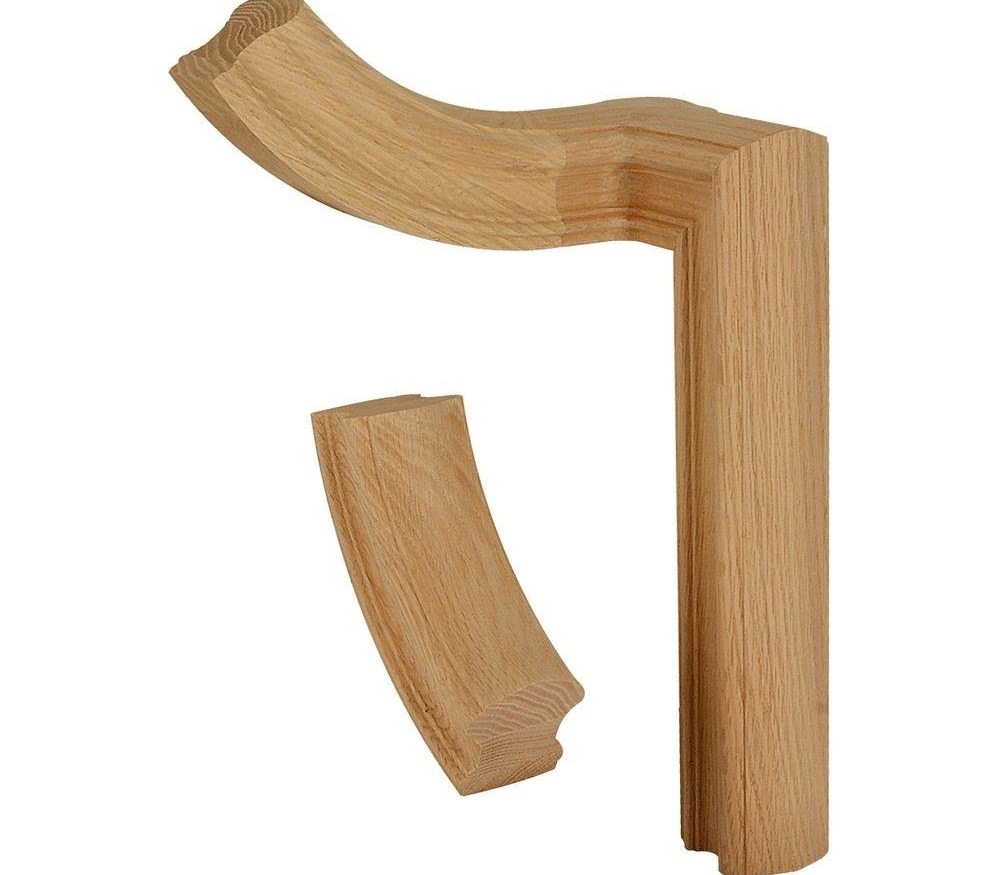 Stair Parts 7760 Unfinished Red Oak 2 Rise Gooseneck 90° Turn With   Oak Handrail Home Depot   Bending   Handrail Fitting   Iron   6010   Quarter Turn