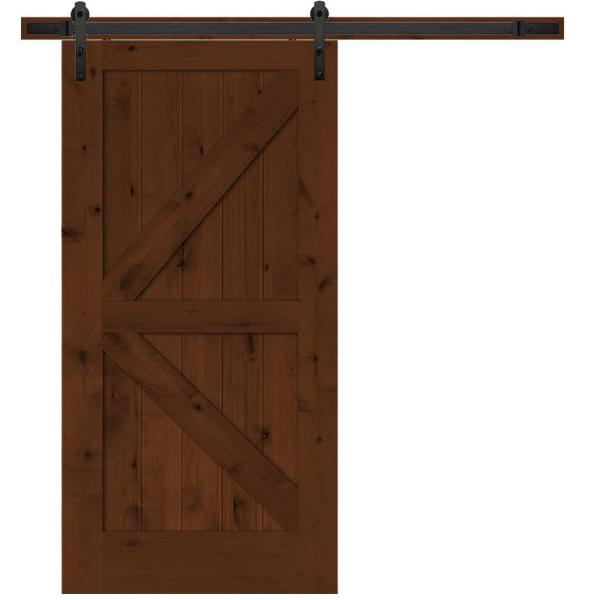 Steves   Sons 30 in  x 84 in  Rustic 2 Panel Stained Knotty Alder     Rustic 2 Panel Stained Knotty Alder Interior Barn Door Slab with Sliding Door  Hardware BDKKA CTBK 30SLB   The Home Depot