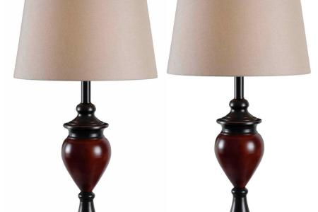 Lamp Sets   Lamps   The Home Depot Bronze Table Lamps with Tan Shade