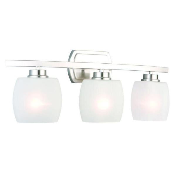 Hampton Bay Tamworth 3 Light Brushed Nickel Vanity Light with     Hampton Bay Tamworth 3 Light Brushed Nickel Vanity Light with Frosted Glass  Shades