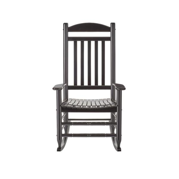 Hampton Bay Black Wood Outdoor Rocking Chair IT 130828B   The Home Depot Hampton Bay Black Wood Outdoor Rocking Chair